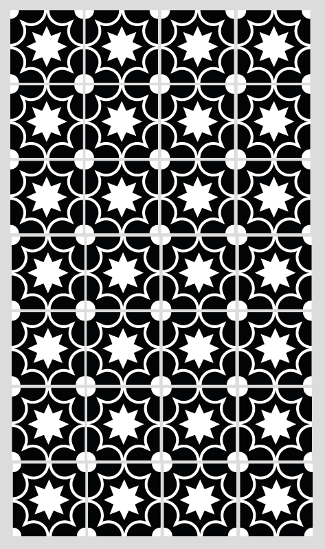TenStickers. Gresie hidraulică alb-negru faianță mat. Un covor alb și negru din dale cu efect elegant, clasic și serios, puteți decora coridorul, camera de zi sau sufrageria.
