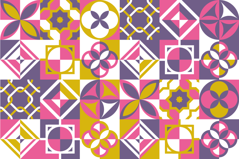 TenStickers. γεωμετρικά πλακίδια χαλάκι πλακιδίων. Με αυτό το χαλί πλακιδίων που αντανακλά μπλε, ροζ και μοβ πλακάκια μπορείτε να διακοσμήσετε το μέρος γεμάτο χαρά και χρώμα όπου το εφαρμόζετε.