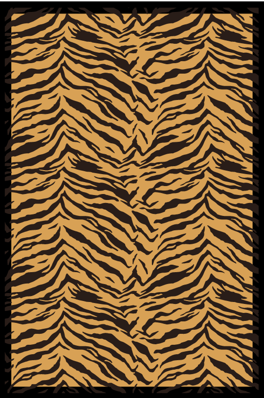 TenStickers. Tiger effect animal print carpet. Beautiful animal print mat to decorate your home with an orange product with black stripes that will give a happy atmosphere to your home.