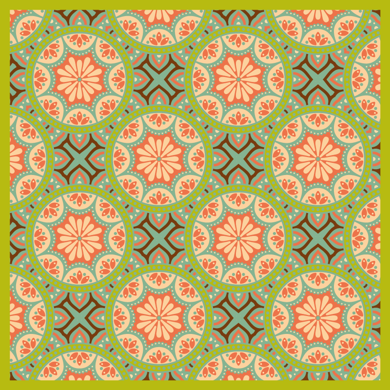 TenStickers. Square Persian green mosaic vinyl flooring. A modern, colorful vinyl rug that gives your home a sweet and modern touch. Don't miss the opportunity to take a look at this design.