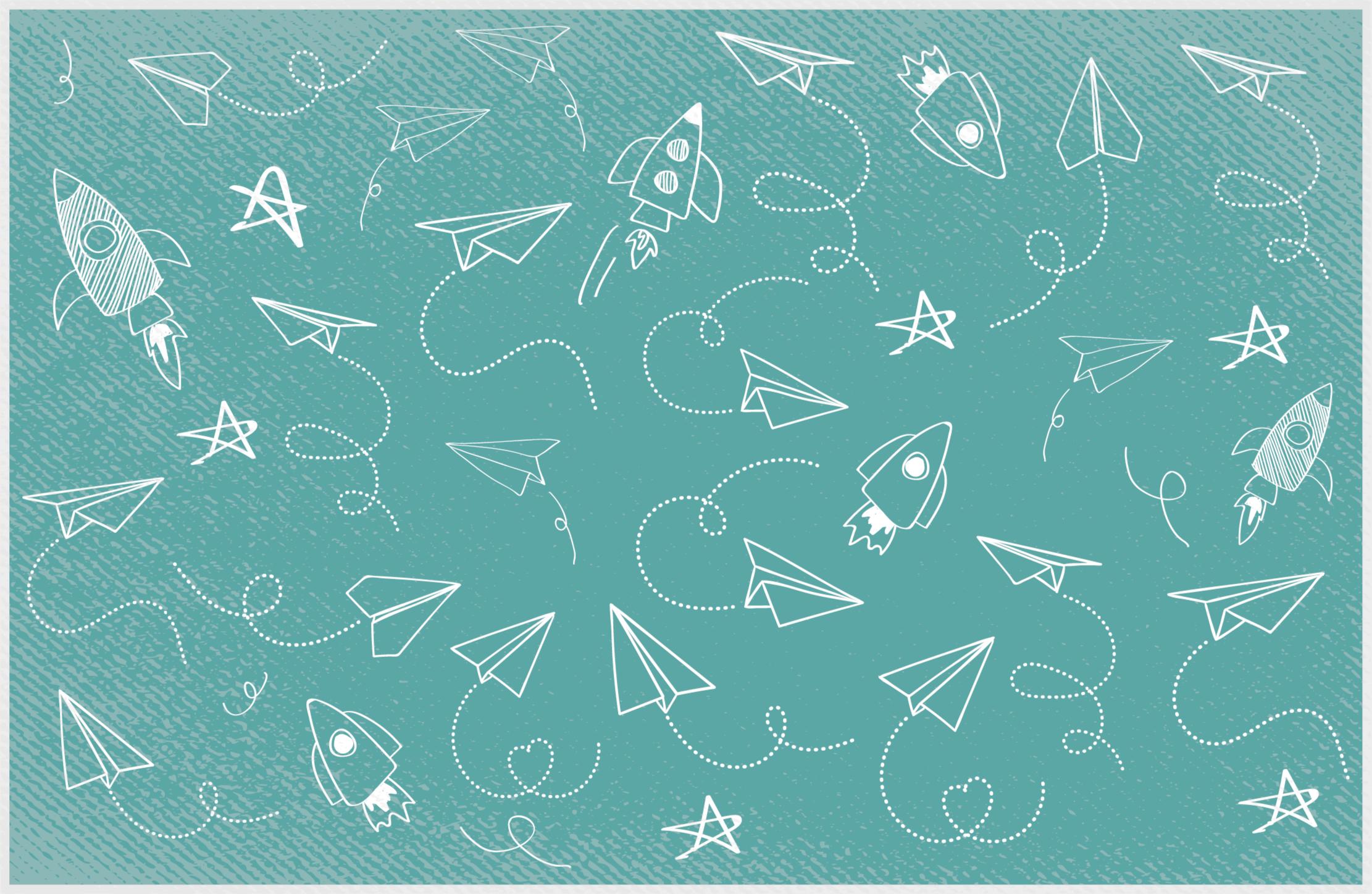TenStickers. Dywan winylowy Błękit w stylu vintage. Piękny i uroczy zielony papier w tle z gwiazdami i rakietami dywan winylowy, który pasuje do każdego wieku. Produkt wykonana w Twoim rozmiarze!