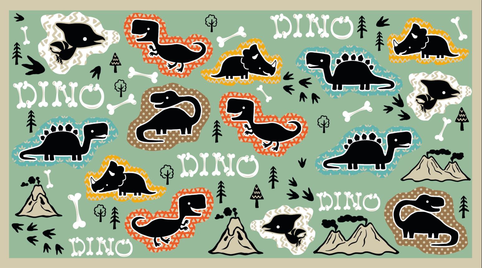 TenStickers. Ossos de dinossauro com padrão de tapete animal. Um tapete de animais com padrão de ossos de dinossauros com fósseis e desenhos de dinossauros na cor verde militar para decorar o quarto do seu filho.