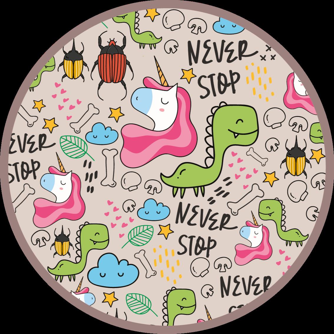 TenVinilo. Alfombra vinilo infantil dinos y frases. Alfombra vinilo infantil perfecta para decorar la habitación de tu hija, con un diseño de dinosaurios y unicornios ¡Compra ahora!