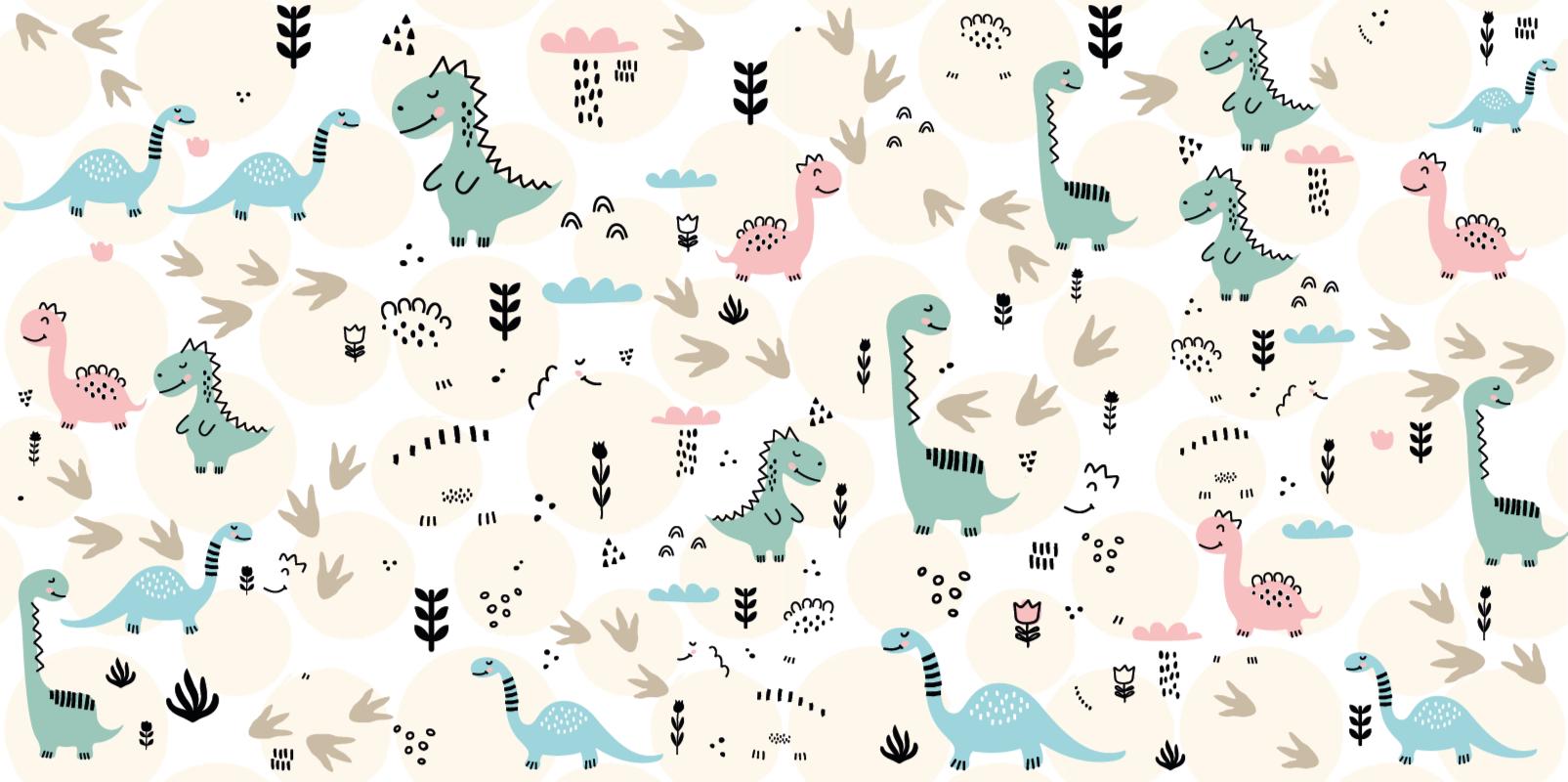 TenVinilo. Alfombra vinilo infantil huellas dinosaurios. Alfombra vinilo infantil con estampados de dinosaurios con muchos pequeños diseños de dinosaurios en rosa y azul ¡Envío exprés!