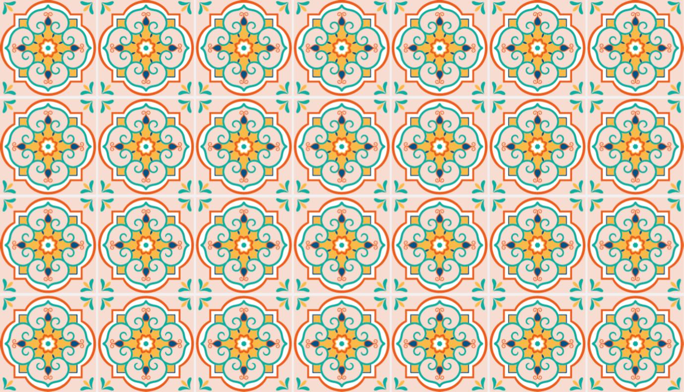Tenstickers. Fargerike mosaikkfliser vinylgulv. Et originalt, firkantet, fargerikt designteppet av vinyl for alle de fliser som elsker gulv som ønsker et billigere og enklere alternativ.