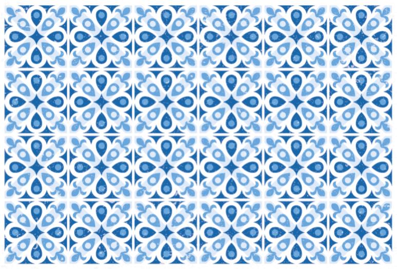 TenStickers. Vinylteppich Schlafzimmer Wasserhaus blau. Schöne wasserhaus blaue blumen fliesen vinyl teppich, um Ihrem haus einen spektakulären aspekt zu geben. In deiner Größe gemacht! Leicht zu pflegen!