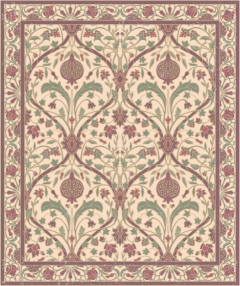TenVinilo. Alfombras vinilo moderna persien beige. Alfombra vinilo moderna de estilo persa brillante con adornos de color rosa y rojo sobre un fondo beige. Fabricado con materiales de alta calidad