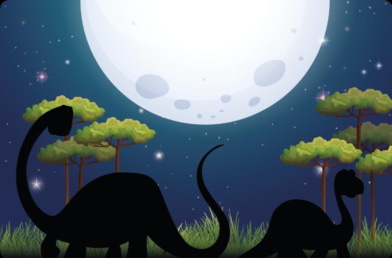TenVinilo. Alfombra vinilo infantil paisaje dinosaurios. ¡Dale a la habitación de tu hijo un toque imaginativo con esta alfombra vinilo infantil con paisaje de dinosaurios nocturno!