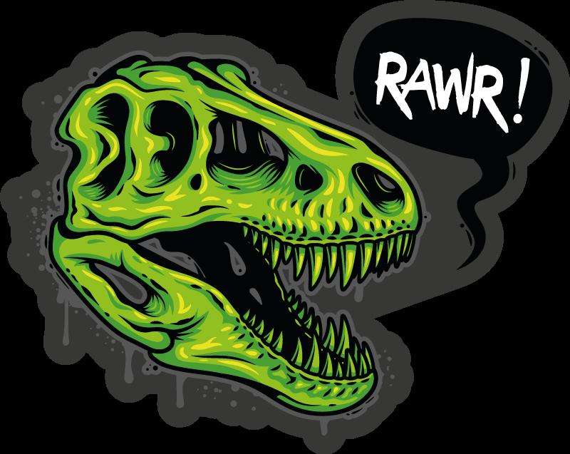 TenStickers. επικεφαλής εικόνα δεινοσαύρων με ζωικό χαλάκι. το παιδί σας θα λατρέψει αυτό το στοιχείο χωρίς αμφιβολία, έναν πράσινο δεινόσαυρο που βρυχάται σε μαύρο φόντο και ένα γραπτό βρυχηθμό. κατοίκον διανομή