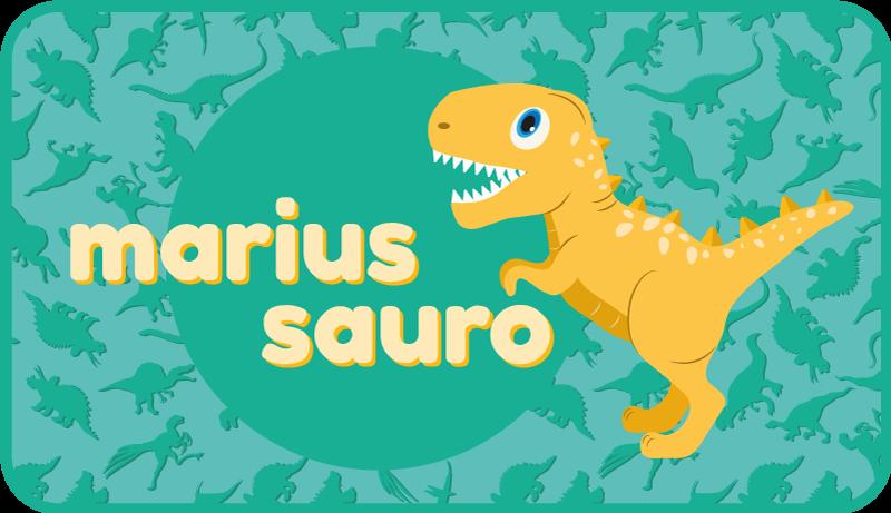 TenStickers. Dywan winylowy T-rex na niebieskim tle . Najbardziej niesamowity dywan winylowy z dinozaurami, który można dostosować do własnych potrzeb! Westchnij już dziś, aby otrzymać 10% rabatu na pierwsze zamówienie!
