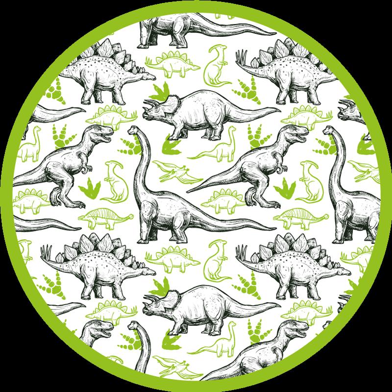 TenStickers. 两种颜色涂鸦恐龙打印动物垫. 这种出色的恐龙乙烯基地毯将为您的家增添许多特色!折扣现在可以在我们的网站上找到。