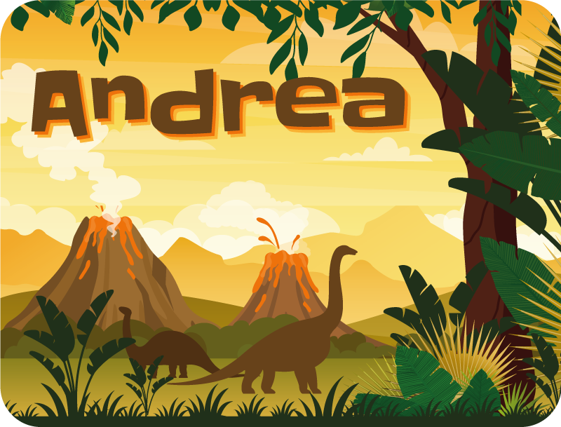 TenStickers. beautiful landscape with dinosaurs personalised vinyl rug. An amazing dinosaur vinyl rug featuring incredible scenery in the background for any room of your home. Easy to maintain.