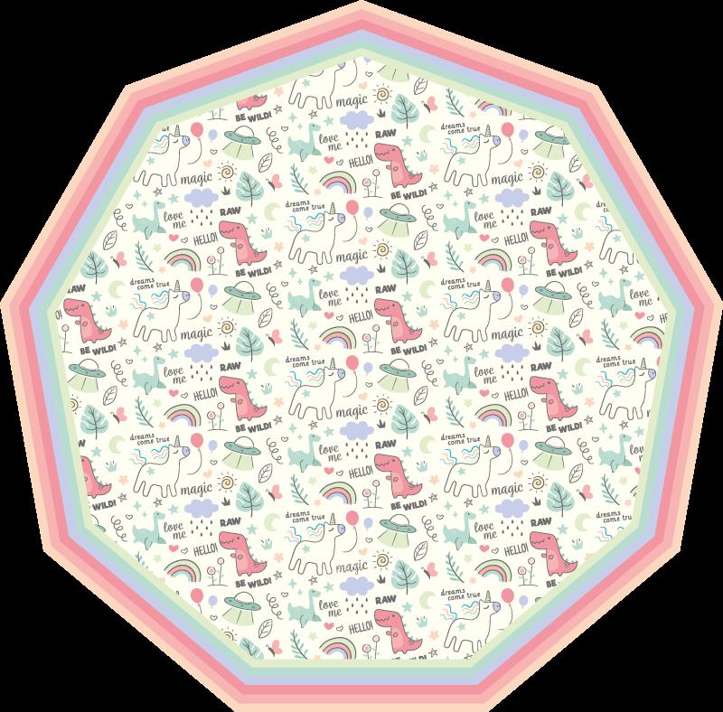 TenStickers. Dinozauri în stil de doodle și covor de model unicorn. Covorul perfect din vinil pentru animale care va arăta uimitor în dormitoarele micuțului tău. înscrieți-vă astăzi online pentru o reducere de 10% la o comandă.