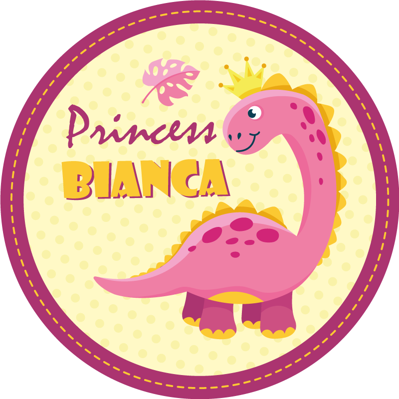 TenStickers. Customized princess dinosaur vinyl carpet. Show your little girl she is the princess of the house with this personalized princess pink dinosaur vinyl rug in a round shape!