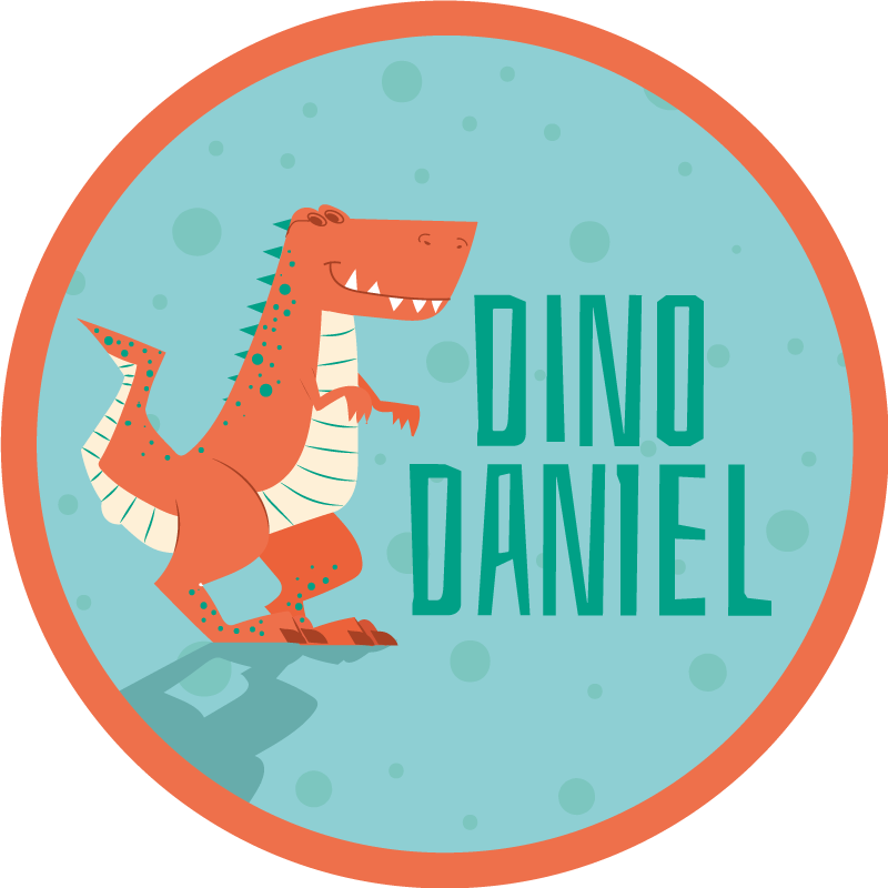 Tenstickers. Oransje dinosaur med tekst og navn personlig vinylteppe. Har du alltid ønsket deg en flott og enkel å rengjøre oransje dinosaur med tekst ihm cate og navnet vinylteppe til barna dine? Kjøp det nå.
