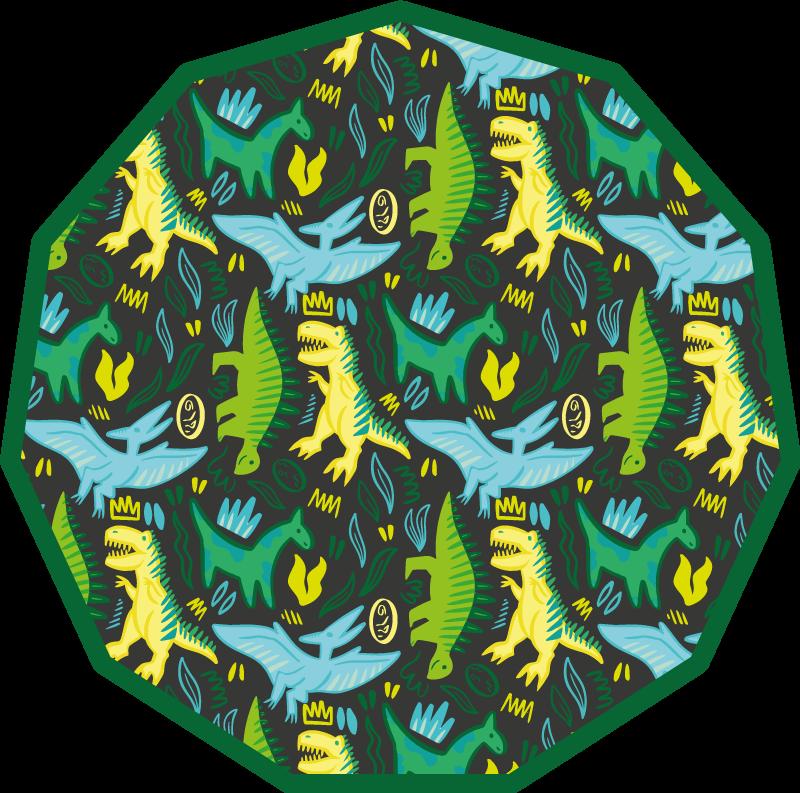 Tenstickers. Grønt dinosaurmønster med trykk dyrematte. Dette diosauriserte teppet er rett og slett super. Du kan bruke dette designet til å leke med barnet ditt når du er hjemme. Hvert barn vil elske dette teppet.