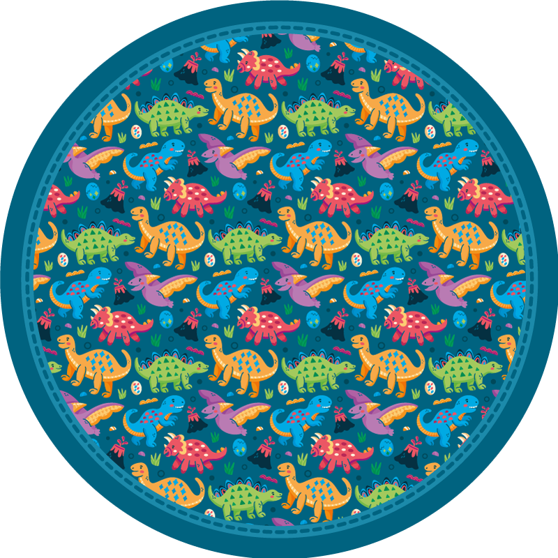 TenStickers. 多彩恐龙乙烯基地毯. 多彩多样的恐龙物种乙烯基地毯在深蓝色的背景和圆形。让您的孩子玩起来很舒服!