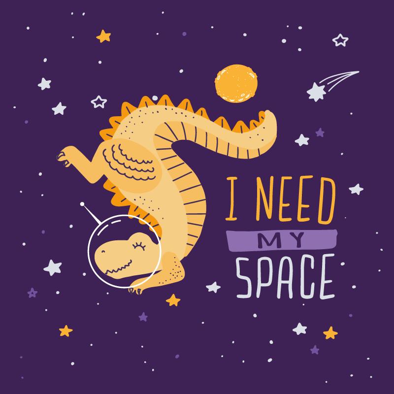 TenStickers. Eu preciso do meu tapete de vinil de dinossauro espacial. A combinação perfeita para crianças que amam o espaço e os dinossauros. Um roxo preciso do meu tapete de vinil de dinossauro espacial para o quarto das crianças.