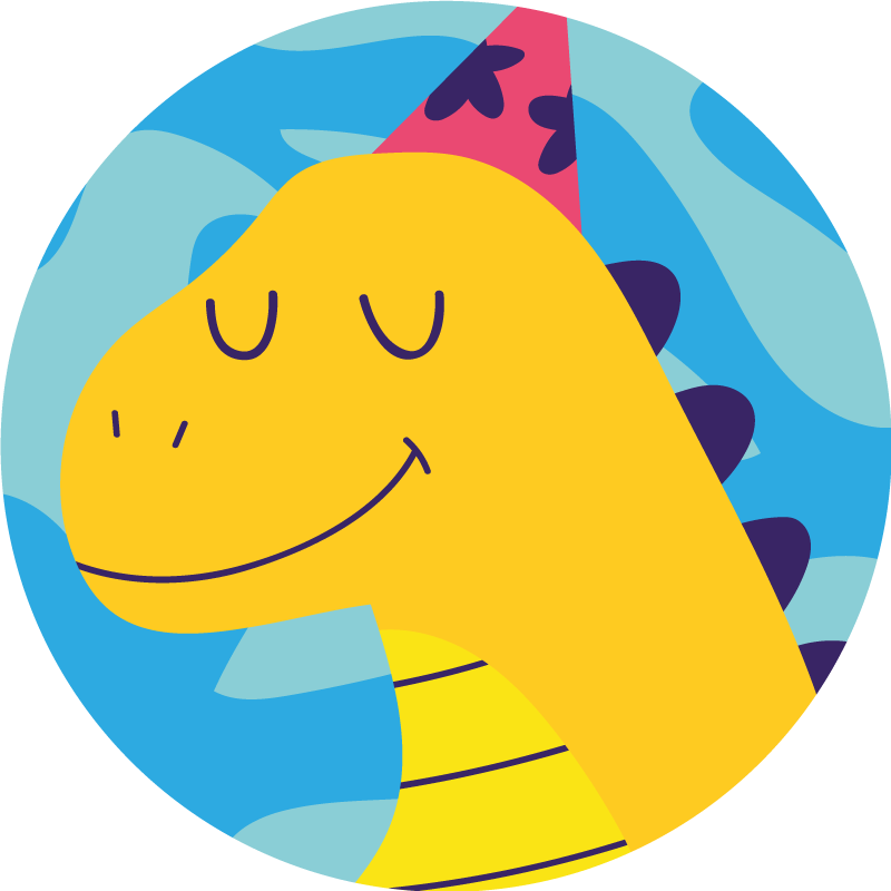 TenStickers. dinosaur playing on blue background animal mat. Kids room vinyl carpet with the illustration of an animated dinosaur in profile with closed eyes, perfect for decorating your child's room.