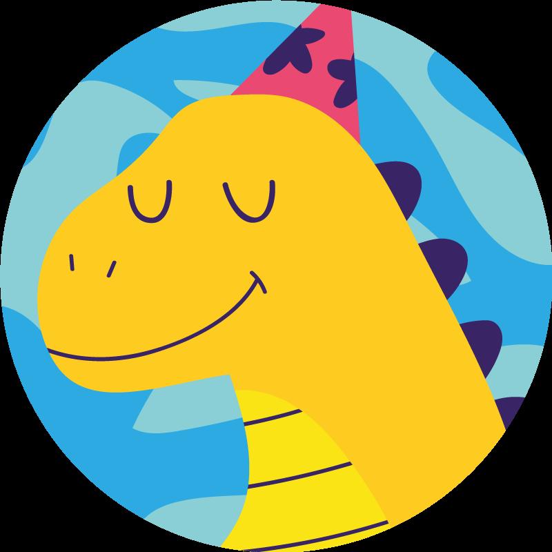 TenStickers. Tappeto in vinile bambini Dinosauro che gioca su sfondo blu. Tappeto in vinile per cameretta bambini con l'illustrazione di un dinosauro animato di profilo ad occhi chiusi, perfetto per decorare la cameretta del tuo bambino.