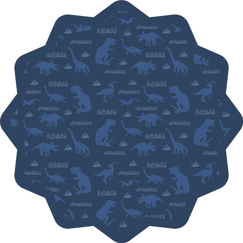 TenStickers. 恐龙siluette浅蓝色背景图案动物垫. 可爱的乙烯基地毯和蓝色恐龙装饰着您的儿童房。每个孩子都希望在房间里坐着这个设计。