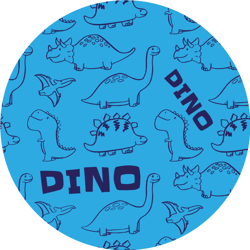 TenStickers. Adorable Dinosaur Pattern vinyl rug. Dinosaur vinyl rug which features various images of dinosaurs all drawn with big smiles on their faces. +10,000 satisfied customers.