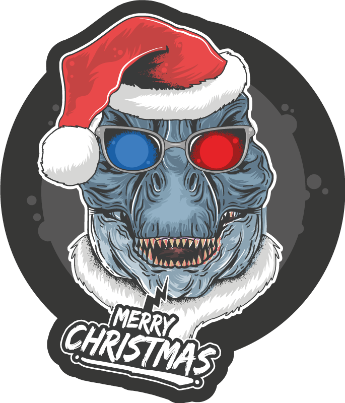 """TenStickers. Covor de vinil dinozaur de craciun. Covor de vinil de crăciun care prezintă imaginea unui dinozaur cu o pălărie de moș crăciun și ochelari 3d cu textul """"crăciun fericit"""" dedesubt."""