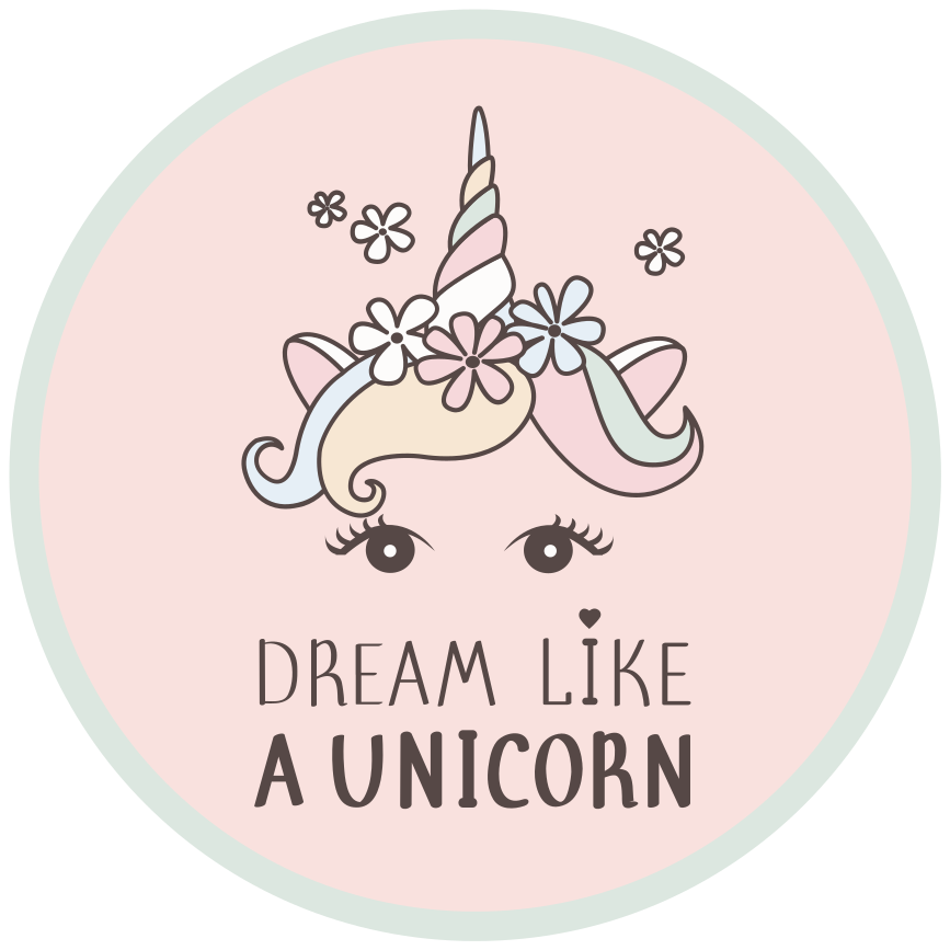 TenStickers. Dream like a Unicorn vinyl rug. Unicorn vinyl rug which features the hair and eyes of a unicorn with the text 'dream like a unicorn' underneath it. Extremely long-lasting material.