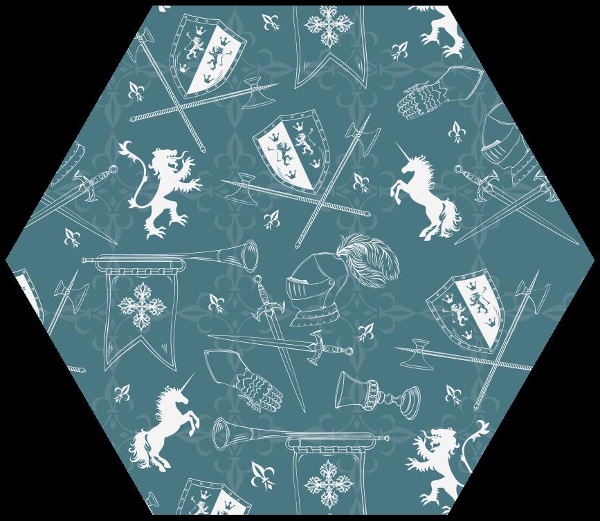 TenStickers. Tapete animal de padrão sem emenda de cavaleiro. Tapete de vinil animal de padrão sem emenda de cavaleiro. Este produtode tapete com padrão hexagonal adicionaria uma aparência adorável em qualquer espaço em que é decorado.