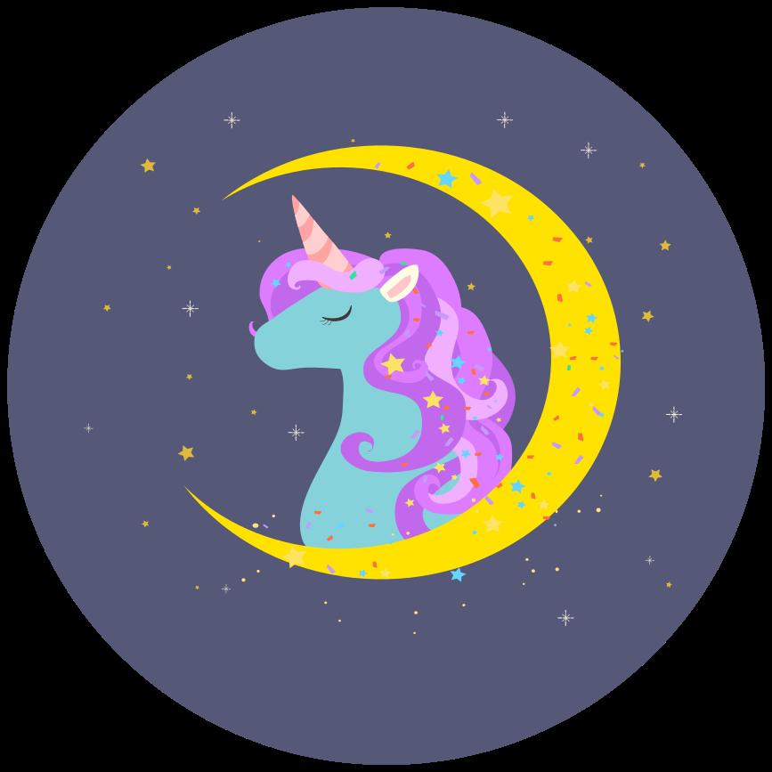TenStickers. 可爱的独角兽与星星动物垫. 适合儿童卧室的乙烯基地毯,具有美丽的独角兽和太空特征的插画设计。它是原始的,易于维护。