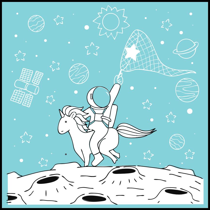 TenStickers. αστροναύτης ιππασίας μονόκερος ζώο χαλάκι. αστροναύτης ιππασίας μονόκερος ζωικό χαλί βινυλίου σχέδιο για να διακοσμήσει ένα πάτωμα σαλόνι και εσωτερικούς χώρους σε ένα σπίτι. πρωτότυπο και εύκολο στη συντήρηση.