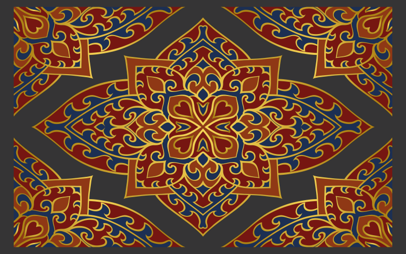 TenStickers. Oriental Persian texture carpet runners for halls. Vinyl rug with Persian pattern. It includes red and yellow ornament on a gray background. Made of high quality material.