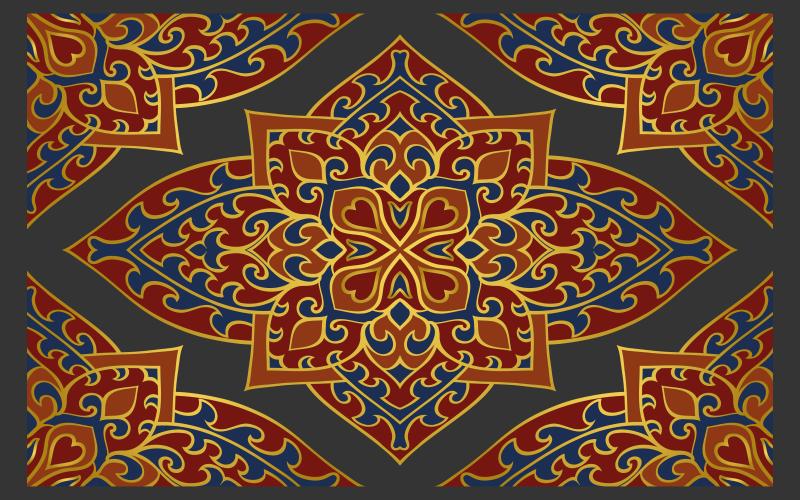 TenVinilo. Alfombra vinilo étnica persa oriental. Alfombra vinilo étnica con estampado persa con adornos rojo y amarillo sobre fondo gris. Hecho de material de alta calidad ¡Envío exprés!