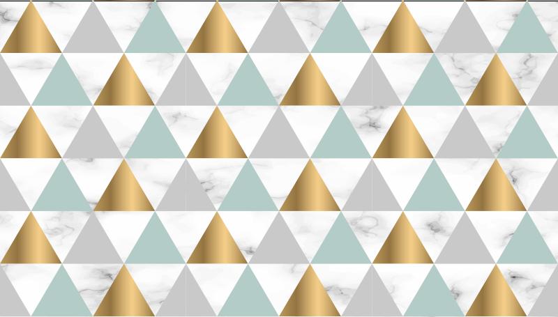 TenStickers. μαρμάρινο τρίγωνο γεωμετρία χαλιά δρομείς για αίθουσες. υπέροχο μαρμάρινο τρίγωνο γεωμετρικό χαλί με γεωμετρικά τρίγωνα σε χρυσό, μπλε και γκρι που ταιριάζουν απόλυτα στον διάδρομο.