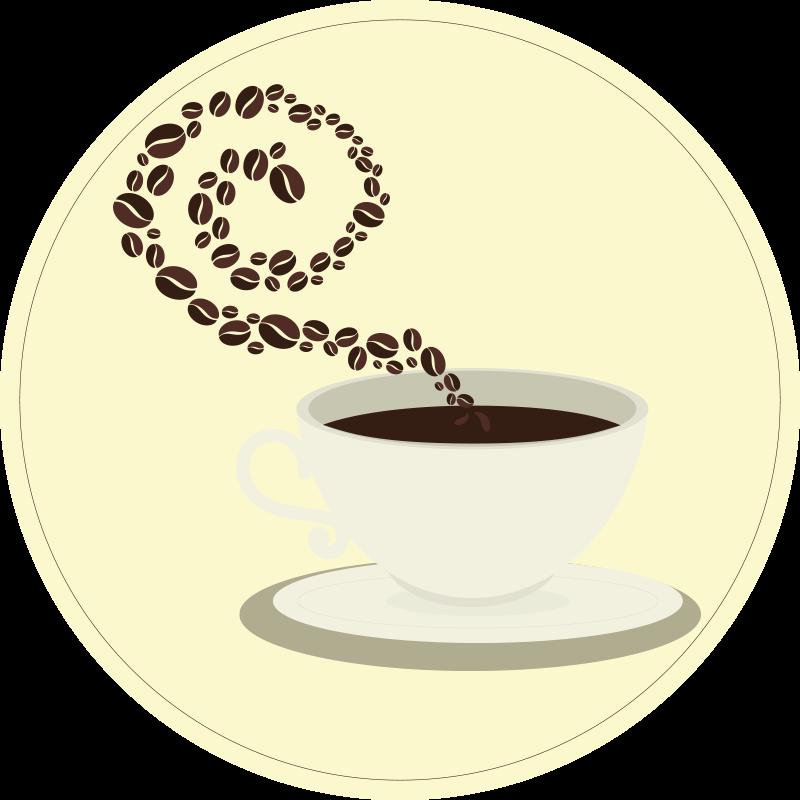 Tenstickers. Espressokaffe kopp kaffebønner moderne tepper. Et nydelig sirkulært kaffe-vinylteppe å dekorere gulvene i hjemmet ditt med! Disse er ekstremt enkle å rengjøre og vedlikeholde.