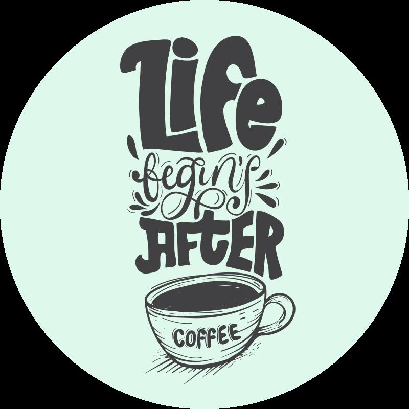 """TenVinilo. Alfombra vinilo cocina vida empieza con café. Esta alfombra vinilo cocina con diseño de letras modernas con texto que cita """"la vida empieza tras un café"""" ¡Compra online ahora!"""