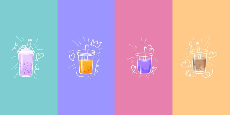 TenStickers. Moderne drank vinyl tapijt. Rechthoekig drank vinyl vloerkleed dat verschillende kopjes koffie of thee illustreert, met achtergronden in verschillende kleuren zoals blauw, fuchsia.