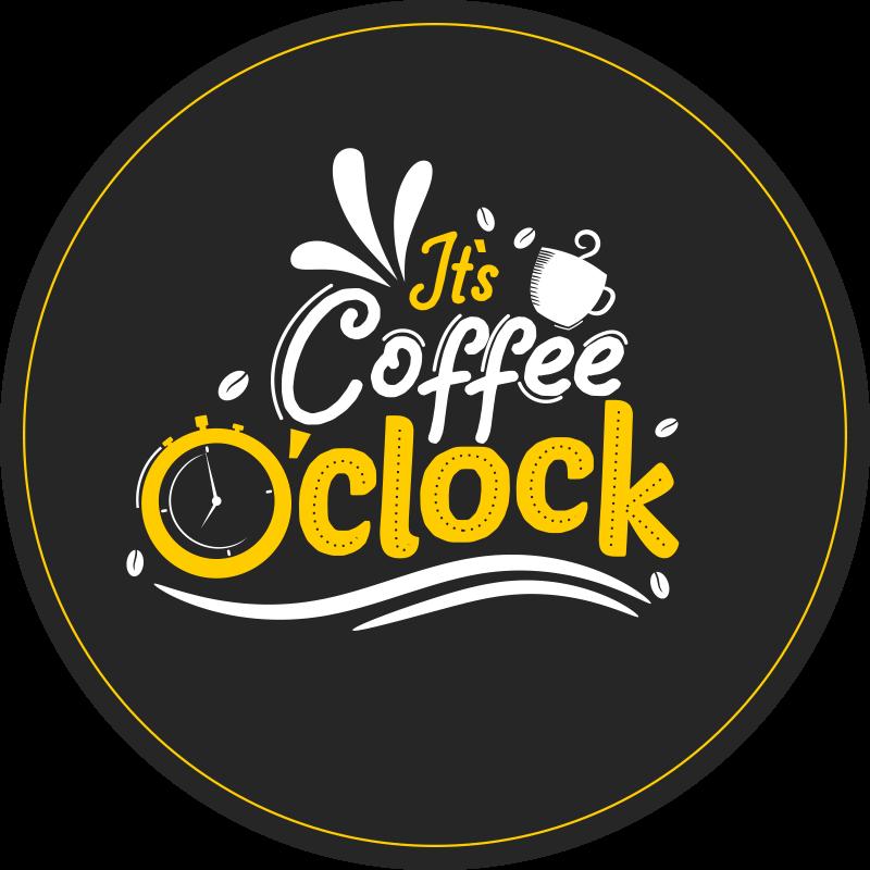 """TenStickers. São tapetes contemporâneos de café. Tapete com desenho original com a frase """"é café da manhã"""" em cores escuras, branco, preto e amarelo, perfeito para sua cozinha."""