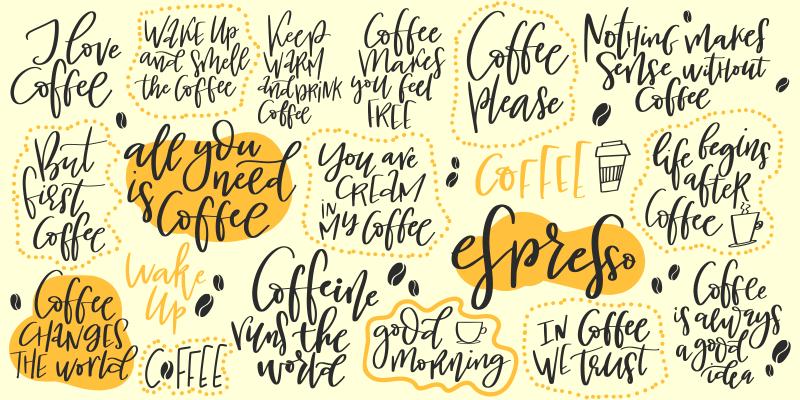 """Tenstickers. Håndlaget bokstavsett om kaffe skreddersydde tepper. Vakkert rektangulært teppe med hvit bakgrunn med bokstaver uttrykket """"livet begynner etter kaffe"""" for å dekorere kjøkkenet ditt. Registrer deg for 10% avslag."""
