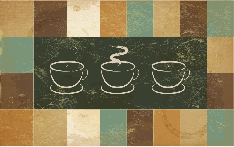 TenStickers. cup of coffe advertisment bespoke rugs. Modern flooring of dark colours that include brown, green, beige, etc. and the illustration of several coffee cups to decorate your kitchen.