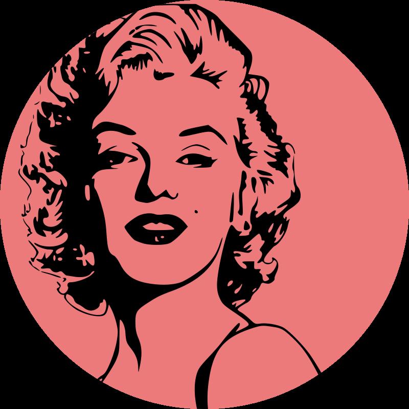 TenStickers. Marilyn monroe portret retro vinyl tapijt. Een rood vinyl tapijt van marilyn monroe om elke ruimte te versieren als u een marilyn monroe fan bent en haar elke dag wilt zien.