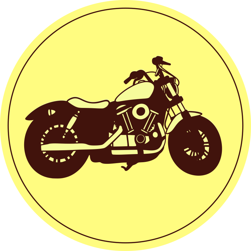 TenVinilo. Alfombra vinilo vintage moto elegante. Increíble alfombra vinilo vintage de color amarilla y redonda con una moto elegante para decorar tu casa de forma retro ¡Envío exprés!