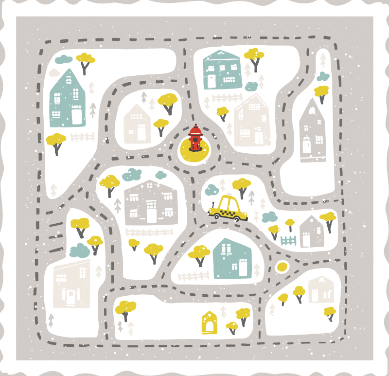 TenStickers. snowy city landscape with roads road mat. A stunning kids road map vinyl rug with snowy backdrop! Sign up on our website today for 10% off your first order with us.