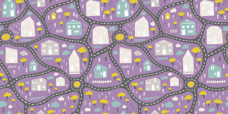 TenStickers. playrug city landscape roads for girl  road mat. A kids road map vinyl rug that will bring so much colour and joy to their nursery! Extremely long-lasting and durable material.