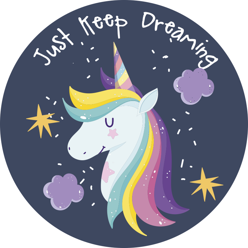 TenStickers. Just keep dreaming with unicorn kids vinyl carpet. The perfect kinds vinyl rug with a unicorn on to help them get to sleep. Get 10% off your first order when you sign up today.