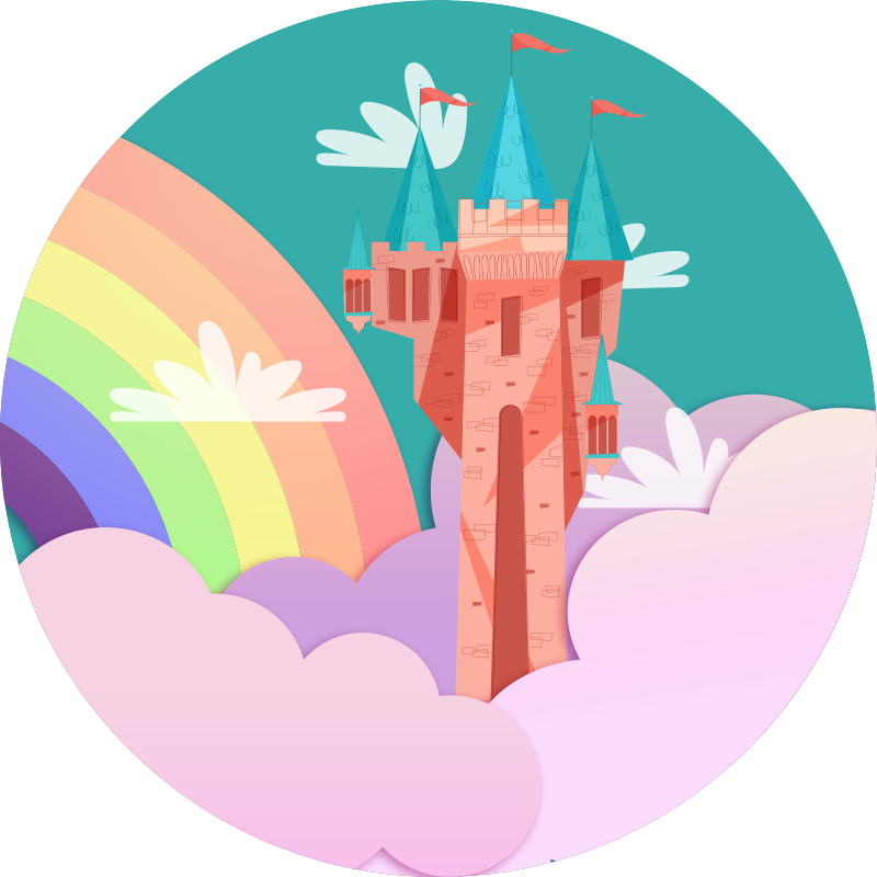 TenStickers. Vinyl tapijt kasteelprinses en regenboog. Een prachtig kasteelprinses vinyl tapijt voor de kinderkamer is een prinses thema waar uw kleine meisje dol op zal zijn. Meld u aan voor 10% korting op u eerste bestelling.