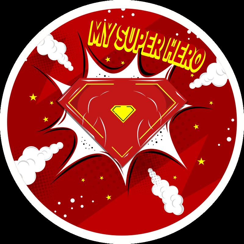 """TenVinilo. Alfombra vinilo infantil frase mi superhéroe. Alfombra vinilo infantil redonda con estilo de superhéroe y la frase """"mi superhéroe"""" para decorar el cuarto de tu hijo ¡Envío exprés!"""