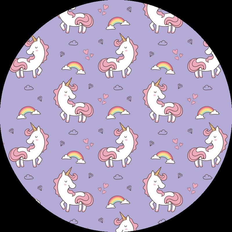 TenVinilo. Alfombra vinilo infantil lila de unicornios. Increíble alfombra vinilo infantil de color morado con unicornios y arcoíris para llenar de fantasía el cuarto de tu hijo ¡Compra online ahora!