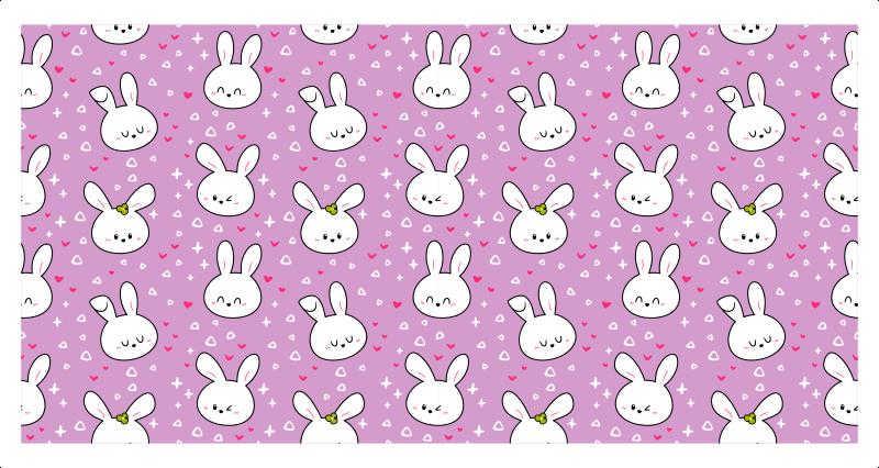 TenVinilo. Alfombra vinilo infantil conejitos blancos. Maravillosa alfombra vinilo infantil de color rosa para que decores tu casa con un diseño original. Elige las medidas ¡Envío exprés!