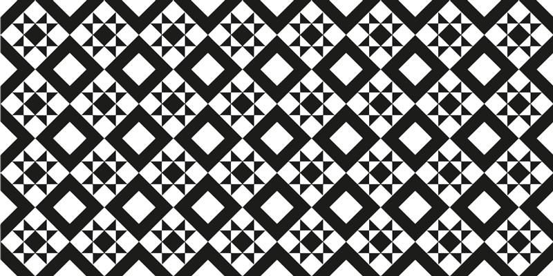 TenStickers. Tapete de ladrilho geométrico preto e branco. Tapete de padrão geométrico incrível que irá adicionar personalidade aos pisos de sua casa. Descontos hoje disponíveis no nosso site.